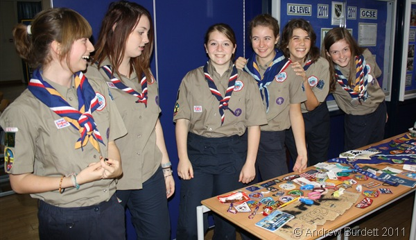 BADGE SWAPPERS_A few of the girls in the Unit, proudly displaying the badges they'd swapped in Sweden.