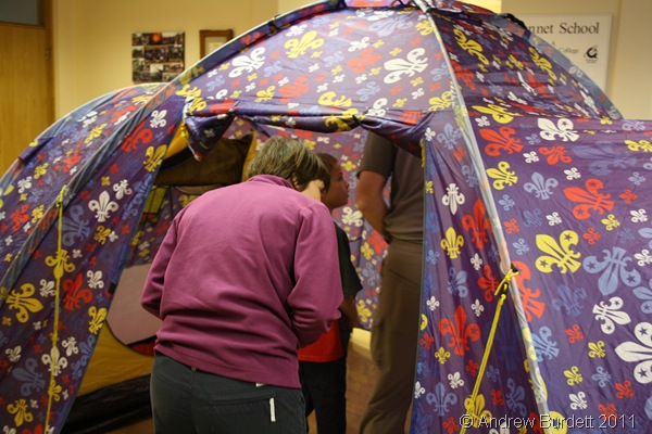 IT'S RATHER SPACIOUS_Parents were given the opportunity to have a look inside one of the tents - our homes for two weeks.