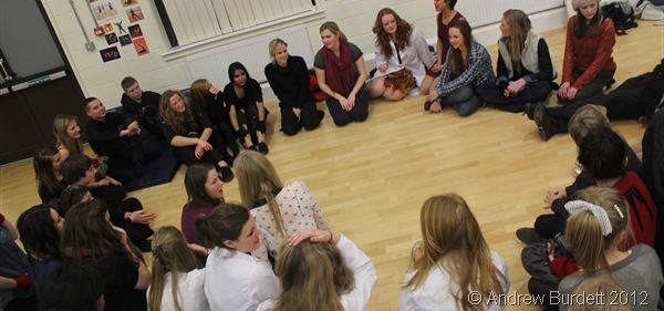 ALL TOGETHER NOW: Sat in a circle for the last time as the LSoH cast, minutes after coming off stage. (IMG_2925)