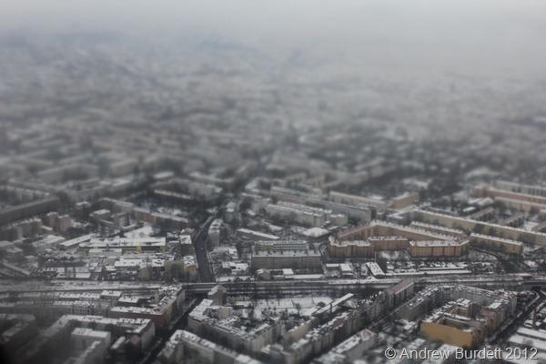 BERLIN IN MINATURE: A tilt-shift effect on the Berlin landscape as we flew in. (IMG_7391)