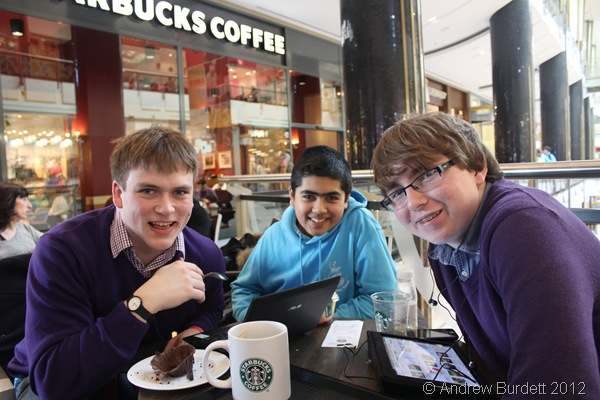 COFFEE SHOP CULTURE: Myself, Simon, and Jake at Starbucks in the shopping centre. (IMG_8180)