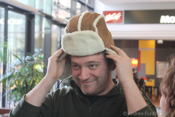 A GOOD SPORT: Mr Shire agreed to wear the silly hat for the rest of our time on German soil. (IMG_8188)