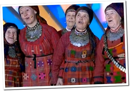 SENIOR MOMENT: The Buranovo Grannies perform en route to winning Russia's nomination to the Eurovision Song Contest.