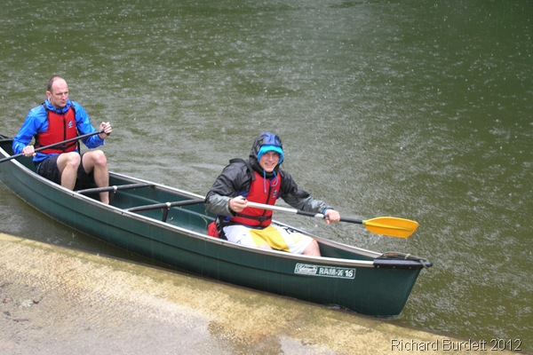 WATER SPORT: Tom and I were the first to arrive back after the rainy journey to Marlow Bridge and back. (01_P6070718_RMB)