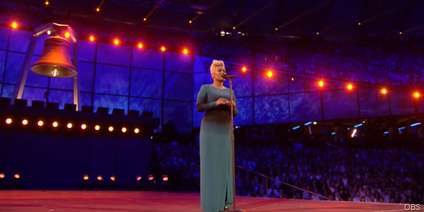 SING HER HEART OUT: Emili Sande provided incredible vocals at the Opening Ceremony.