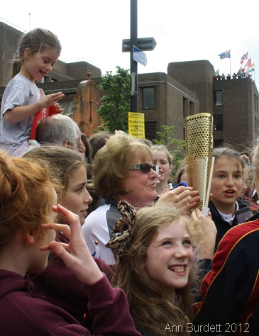 CLAMOUR TO SEE: Torchbearer 041 drew a lot of attention from all of the nearby Claire's Court schoolgirls. (IMG_8177_AMB)