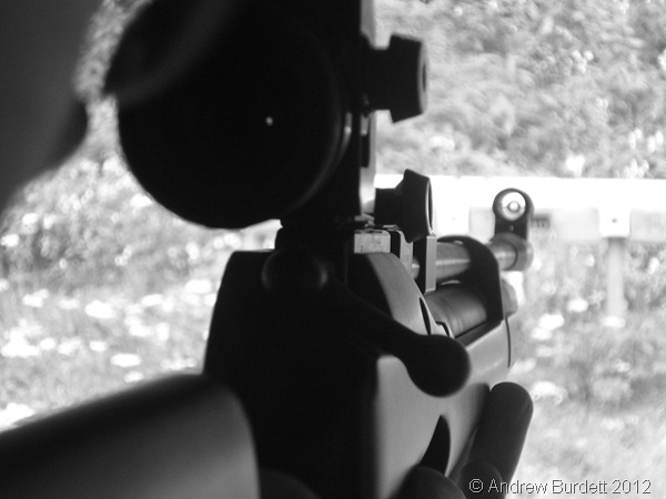 LOOKING DOWN THE BARREL: Ed takes a shot on the firing range. (0354_DSC04252_ARB)