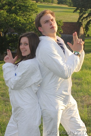 WHAT A PAIR: Lauren and me posing in our Tyvek suits. (IMG_9508/HENLEY)