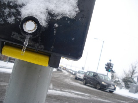 This button, for the traffic lights on the A308 crossroads, had frozen.