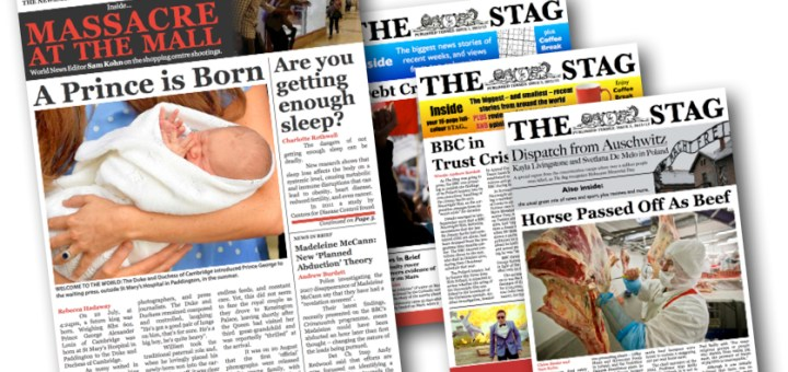 A graphic showing different editions of The Stag magazine.