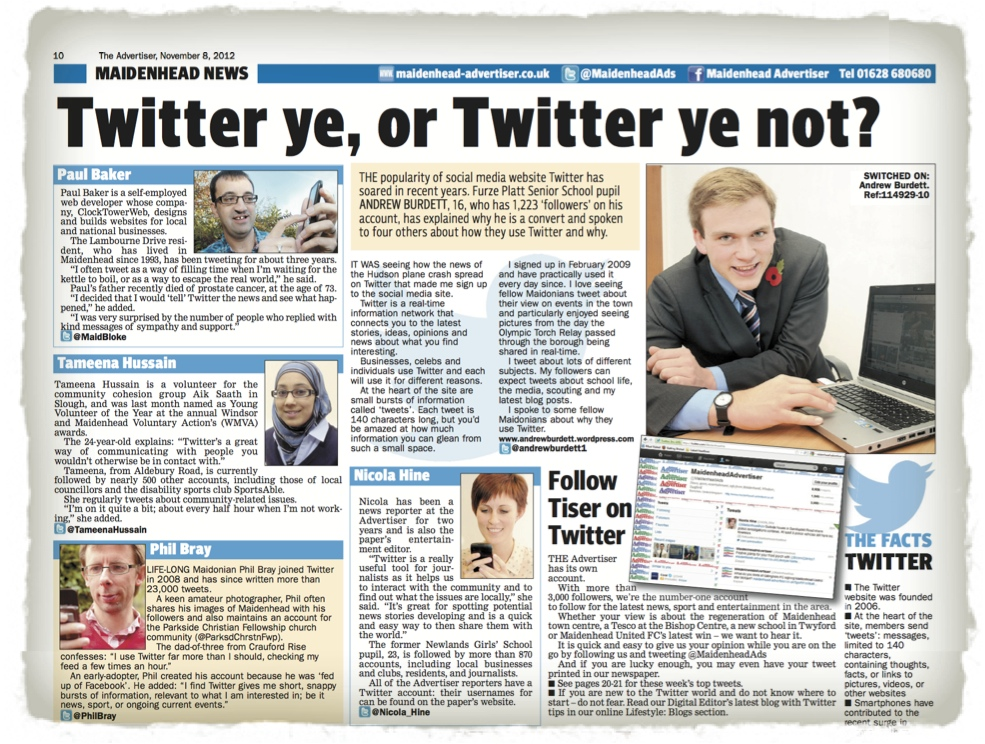 A graphic showing a section of the Maidenhead Advertiser edition featuring my Twitter usage report.