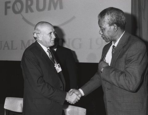 Frederik Willem de Klerk and Nelson Mandela shake hands