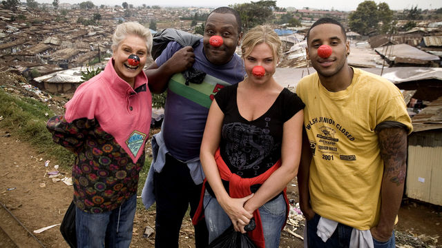 A photograph of the stars of the 2011 BBC documentary 'Famous, Rich, and In The Slums'.