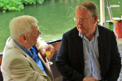 John Stevens and Richard Holroyd chatting on the boat.