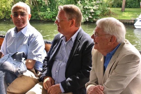 Rhidian Jones, Richard Holroyd, and John Stevens, on board the boat.