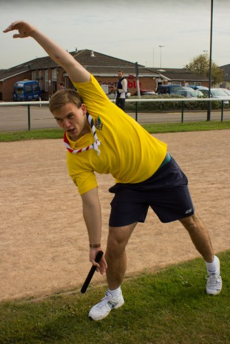 Andrew Burdett warms up at the Braywick Athletics Track this lunchtime.