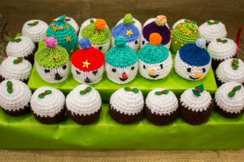 Chocolates were sold in individually knitted hats.