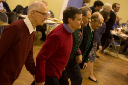 Peter Goford, Richard Burdett, Gerry Knight, and Roger Bevitt all danced the ceilidh with their wives.