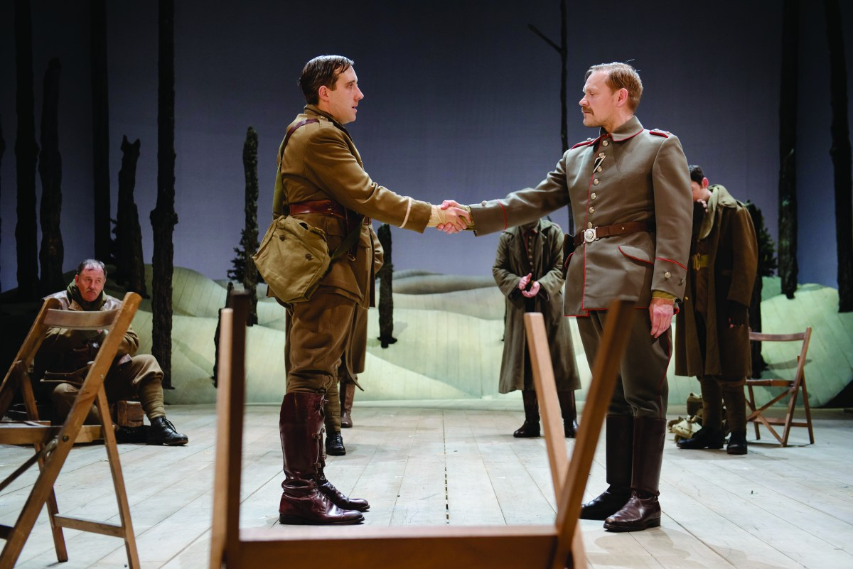 Bruce Bairnsfather (Joseph Kloska) finally agrees to shake the hand of his enemy, Leutnant Kohler (Nick Haverson) in 'The Christmas Truce'. [PHOTO: Topher McGrillis]