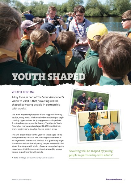 Page 3 of the Berkshire Scouts Annual Review 2015.
