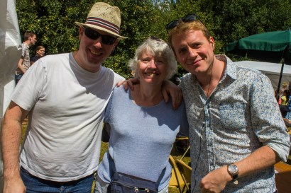 Luke Darracott (pictured right) with Ben (left) and mum Ann (centre), enjoyed tea together at the fair.