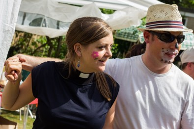 With face-paint still fresh on their faces, Nicola Hulks and Ben Darracott danced in the vicarage garden.