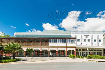 Exterior image of School of Arts building Cairns, showing heritage facades
