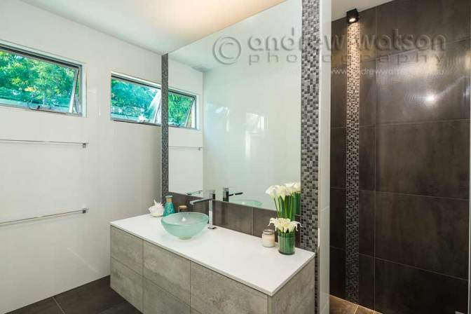 Interior image of bathroom vanity in architectural home