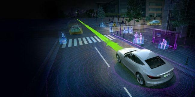 """Das """"Drive PX2""""-Hardware-Modul von Nvidia fügt die Daten von Kameras sowie von Radar-, Lidar- und Ultraschall-Sensoren zu einem 360-Grad-Bild der Umgebung zusammen. (Foto: Nvidia)"""