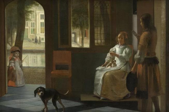 Mann überreicht ein iPhone. Das war vor 350 Jahren udn wurde in einem Gemälde von Pieter de Hooch festgehalten (Rijksmuseum Amsterdam)