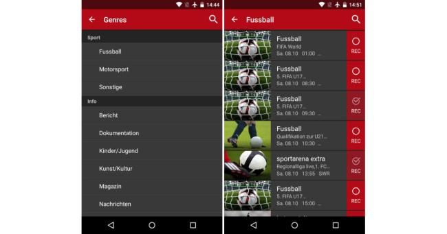 """Zu den Fußballsendungen gelangst du entweder über den Eintrag """"Genres"""" im Hauptmenü der """"Save.TV""""-App – oder aber über die Suchfunktion."""