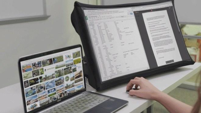 Ein Bildschirm, den wir zusammenklappen können wie einen Regenschirm – und fertig ist der Bildregenschirm bzw. Regenbildschirm (Foto: Kickstarter)