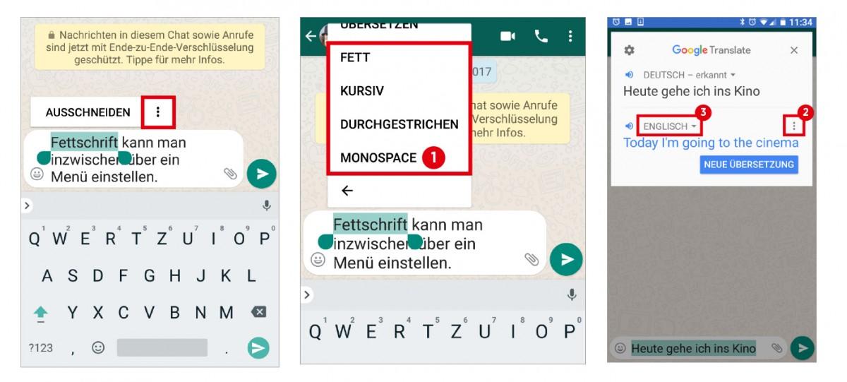WhatsApp: Textattribute und Übersetzungen einfügen