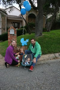 Here we are in front of our semi-suburban home the day we brought El Guapo home from the hospital.