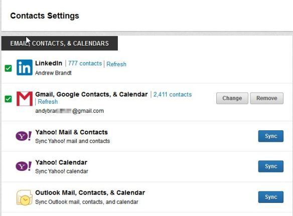 To sync an email provider with your LinkedIn Contacts, select the appropriate email service.