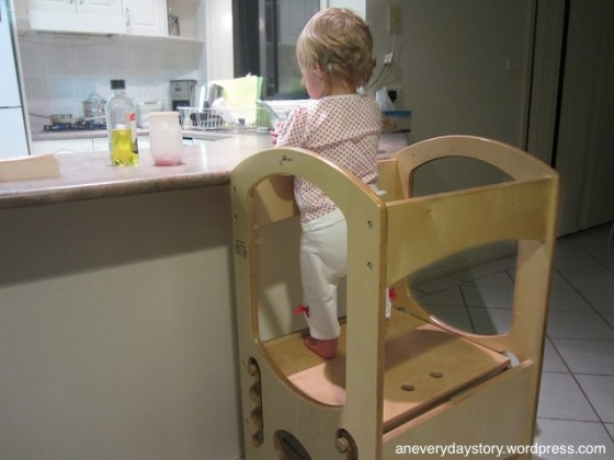montessori learning tower toddler 14 months in the kitchen Sarah and the Learning Tower