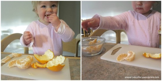 montessori practical life toddler preparing a snack In the Kitchen with Sarah (and a teeny tiny apron)
