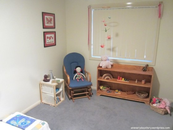 montessori bedroom for toddlers low shelves floor bed cube chair Sarahs Room: Growing with Her