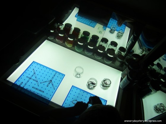 reggio emilia light table translucent geoboard activity an everyday story A Translucent Geoboard for the Light Panel