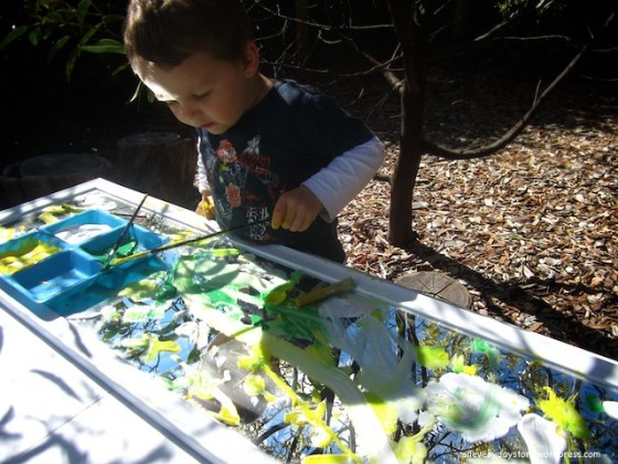 reggio emilia observational painting using mirrors and natual materials an everyday story Observational Painting from a Different Perspective