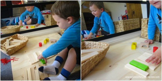 reggio emilia using blocks block corner and mirror at home A Reggio inspired Block Corner