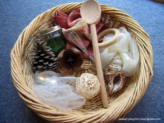 reggio montessori treasure sensory basket for babies using natural materials an everyday story Its Not Just a Stick: A Simple Nature Table