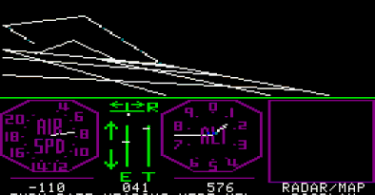 A screenshot from subLOGIC FS1 for the Apple II, courtesy of The Old Flight Simulator Vault.
