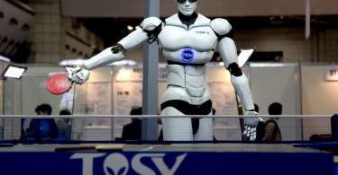 phase change memory robot playing ping pong