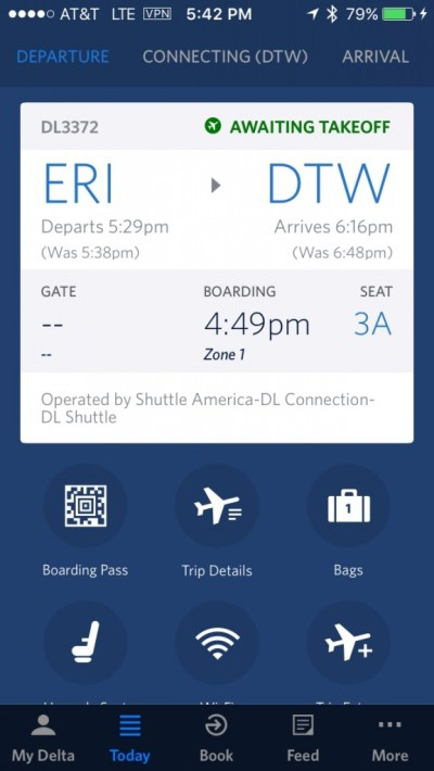 Fly Delta Flight info leaving Erie