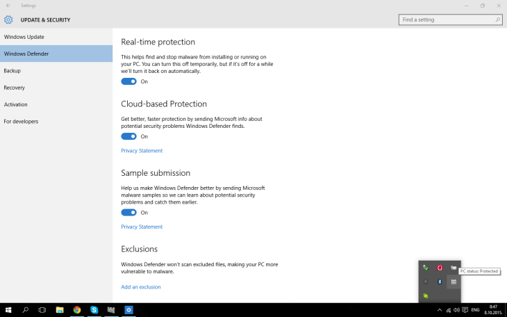Real Time Protection windows defender