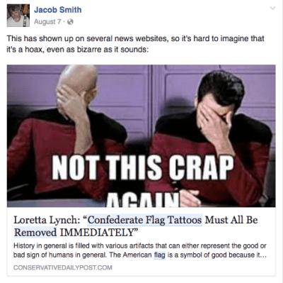 fake media fake news confederate flag tattoos