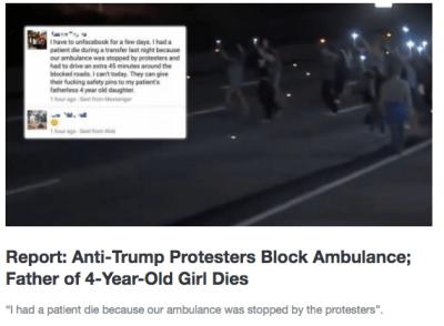 fake news anti trump protest blocks ambulance
