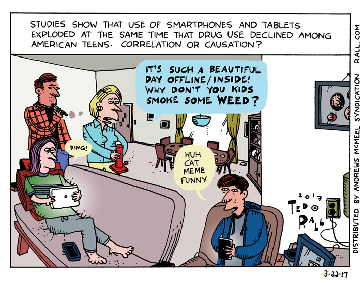 Kids, Weed and Phones: The Shifting Sands of Addiction [cartoon]