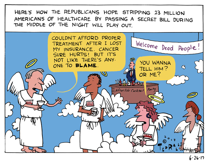 TrumpCare: Welcome, Dead People! [cartoon]